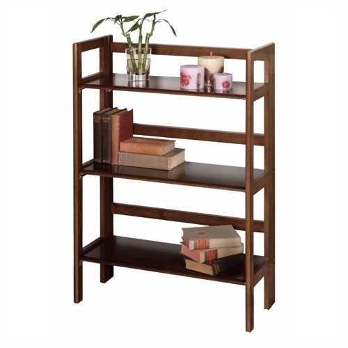 3-Shelf Stackable Folding Bookcase in Distressed Walnut Finish