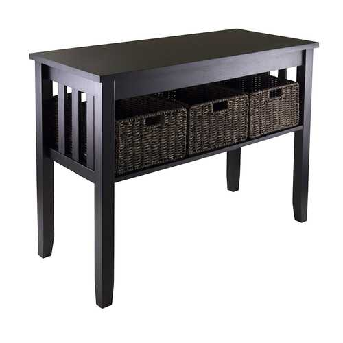 Espresso Wood Console Hall / Sofa Table w/ 3 Foldable Baskets