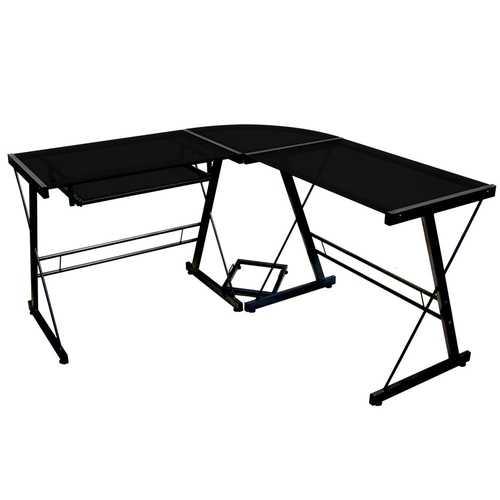 Black Metal and Glass Corner L-Shaped Computer Desk