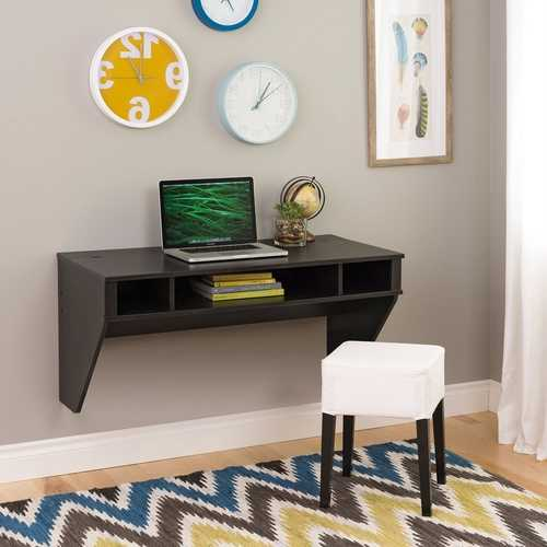 Contemporary Space Saver Floating Style Laptop Desk in Ebony