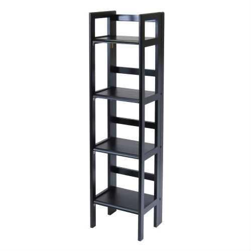 Black 4-Tier Shelf Folding Shelving Unit Bookcase Storage Shelves Tower