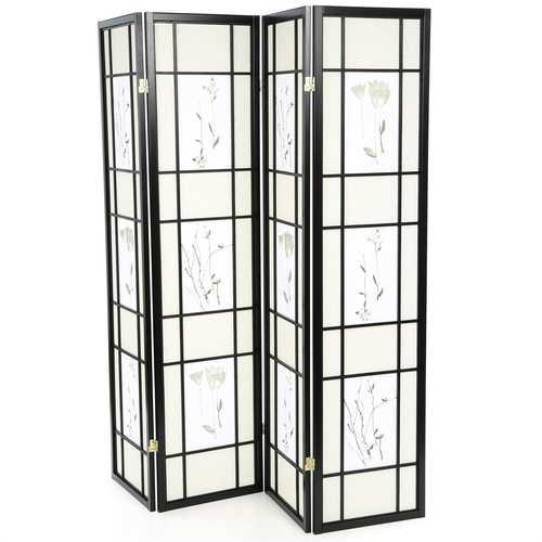 Black 4-Panel Room Divider Shoji Screen with Asian Floral Print