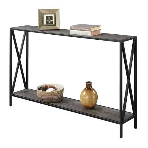 Weathered Grey Wood Console Sofa Table with Bottom Shelf and Metal Frame