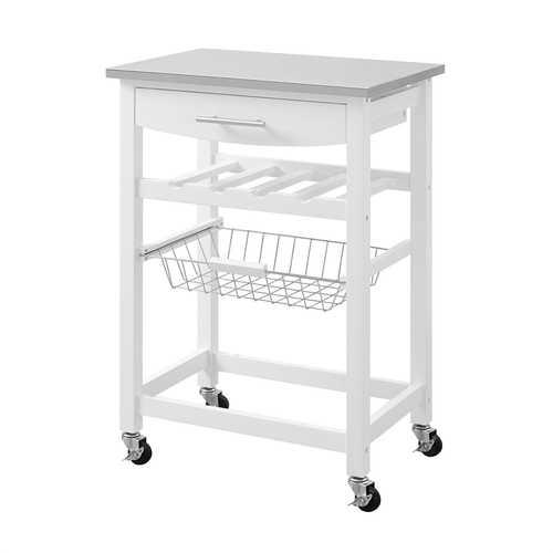 Stainless Steel Top White Wood Kitchen Island Storage Cart