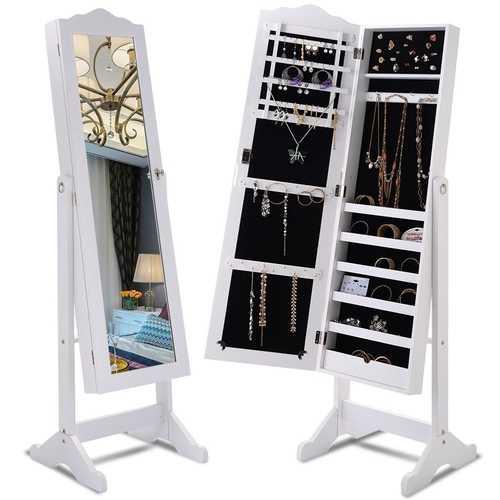 Locking White Wood Jewelry Armoire Cabinet Floor Mirror