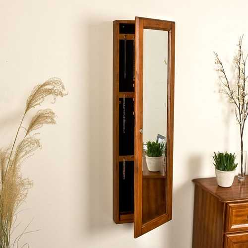 Wall Mount Jewelry Armoire Cabinet and Mirror in Oak Wood Finish