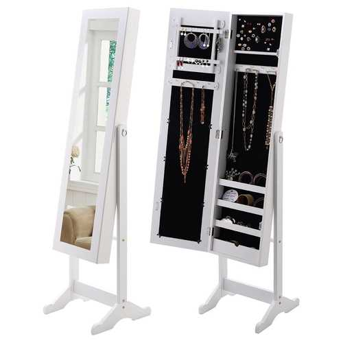 White Wood Jewelry Storage Cabinet Freestanding Floor Mirror