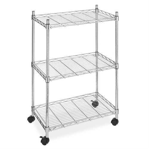 3-Tier Metal Cart on Wheels for Kitchen Microwave Bathroom Garage