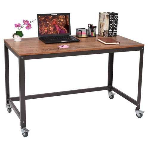 Industrial Modern Steel Frame Wood Top Computer Desk with Locking Wheels