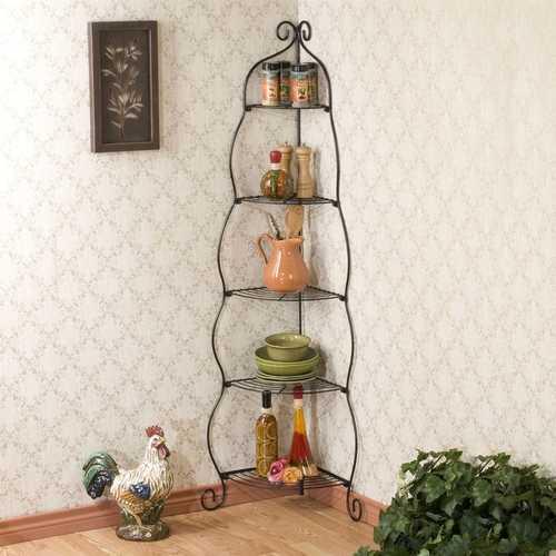 Corner Bakers Rack 5-Tier Shelves with Decorative Metal Scrollwork