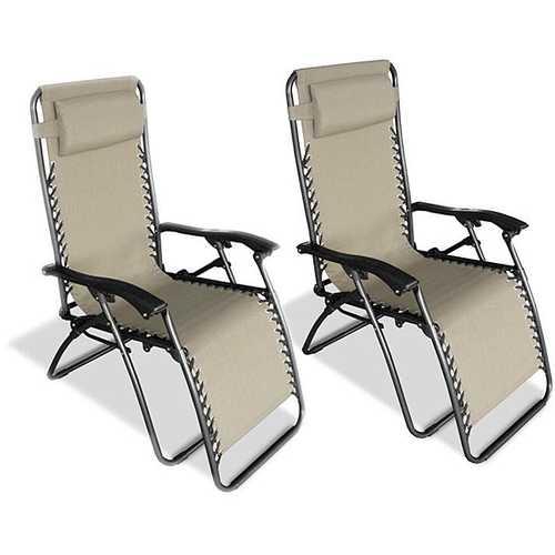Set of 2 - Zero Gravity Indoor/Outdoor Chairs in Beige