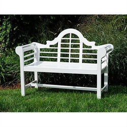 Category: Dropship Outdoors, SKU #ADLGB18965281, Title: Outdoor Lattice Back Garden Bench in White Wood Finish