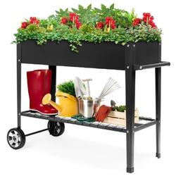 Mobile Black Metal Garden Potting Bench with Push Handle Wheels