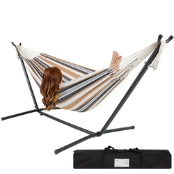 Portable Cotton Hammock in Desert Strip with Metal Stand and Carry Case