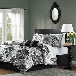 King size 7-Piece Comforter Set with Black Grey Damask Pattern