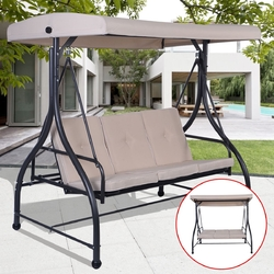 Beige Adjustable 3 Seat Cushioned Porch Patio Canopy Swing Chair