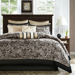 King size Cotton 12-Piece Reversible Paisley Comforter Set in Black Gold