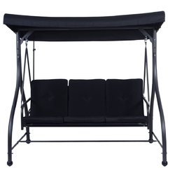 Black Adjustable 3 Seat Cushioned Porch Patio Canopy Swing Chair