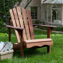 Ergonomic Outdoor Patio Adirondack Chair in Red Shorea Wood