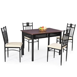 5-Piece Black Brown Dining Set Wood Metal Table Chairs with Cushions
