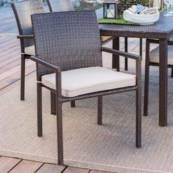 Dark Brown Weather Resistant Resin Wicker Dining Chair Armchair