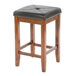 Set of 2 - 24-inch High Cherry Bar Stools w/ Cushion Faux Leather Seat