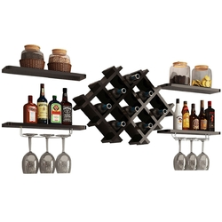 Black 5 Piece Wall Mounted Wine Rack Set with Storage Shelves