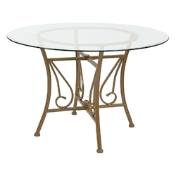Contemporary 45-inch Round Glass Top Dining Table with Matte Gold Metal Frame