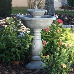 Weathered Stone Finish Outdoor Resin Solar Fountain Bird Bath
