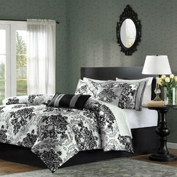 California King size 7-Piece Comforter Set with Black Grey Damask Pattern