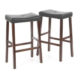 Set of 2 - Upholstered Faux Leather Saddle Seat Barstool in Mahogany