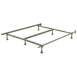 California King Metal Bed Frame with Wide Glide Legs and Headboard Brackets