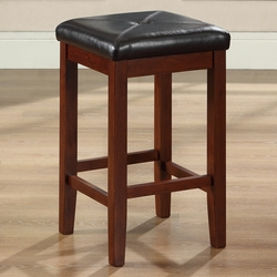 Set of 2 - Vintage Mahogany Bar Stools with Faux Leather Cushion Seat