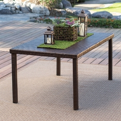 Category: Dropship Outdoors, SKU #CWBDS61891, Title: Dark Brown 63-in Outdoor Resin Wicker Rectangular Patio Dining Table - Seats 6