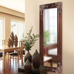 Full Length 63-in Wall Mirror with Wood Frame and Antique Silver Gold Accents