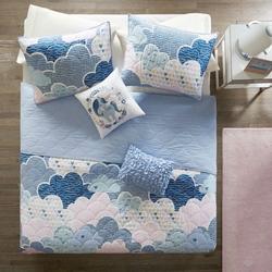 Full/Queen Kids Blue Pink Unicorn Clouds Quilt Coverlet Bedspread Set