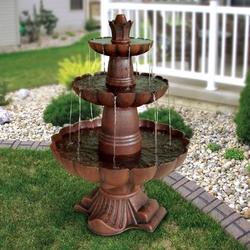 3-Tier Outdoor Garden Fountain in Durable Poly-Vinyl Composite - Bronze Color