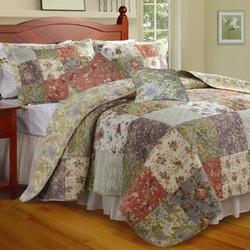 Full / Queen size 100% Cotton Floral Paisley Reversible Quilt Set