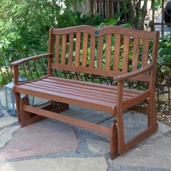 4-Ft Outdoor Loveseat Garden Bench Glider with Armrests in Natural Wood Finish