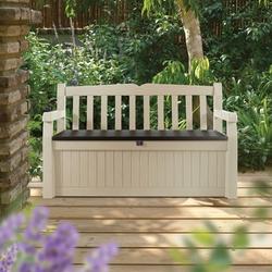 Beige Resin Eco-Friendly 70-Gallon Outdoor Garden Bench Deck Box