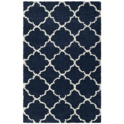 "5'1"" x 7'6"" Shag Extra Plush Geometric Indoor Blue/Beige Area Rug"