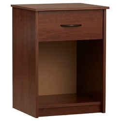 Bedroom 1-Drawer Nightstand End Table in Medium Brown Wood Finish