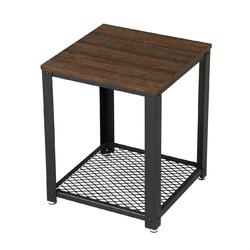 Modern Industrial Metal Wood Nightstand Side Table with Mesh Shelf