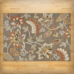 """3'3"""" x 5'2"""" Tufted Cotton Area Rug with Yellow Orange Beige Brown Floral Pattern"""