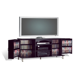60-inch Plasma TV Stand with Media Storage in Black Finish