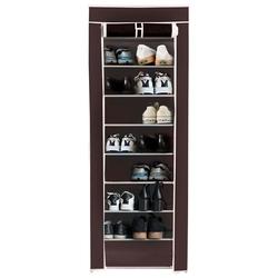 10 Tier Shoe Rack Brown Portable Closet Wardrobe Shelving Unit Fabric Cover