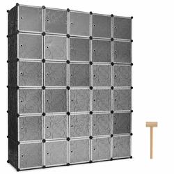 30 Cube Black Portable Closet Wardrobe Shelving Cabinet Unit