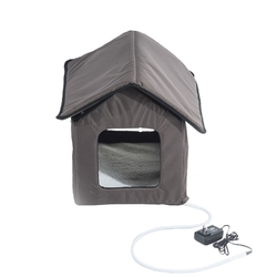 Heated Outdoor Cat House with Lamb Wool Padded Cats Bed in Brown