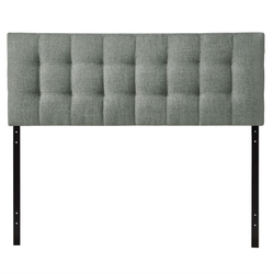 King size Grey Fabric Upholstered Headboard with Modern Tufting