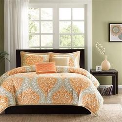 Queen size 5-Piece Orange Damask Print Comforter Set